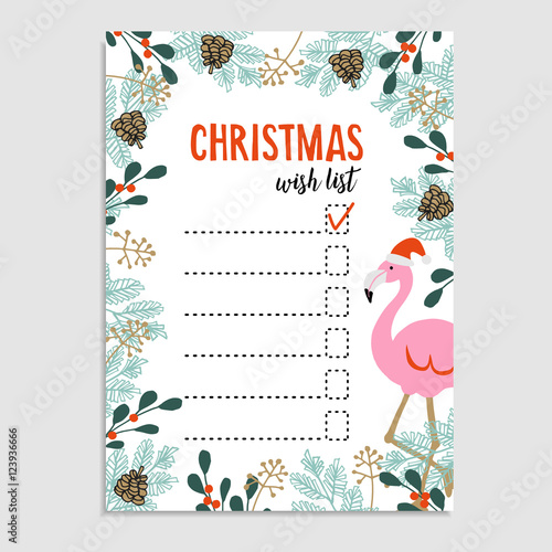 Cute Christmas Card, Wish List. Flamingo With Santa Hat And Floral Frame  Made Of  Christmas Wish List Paper