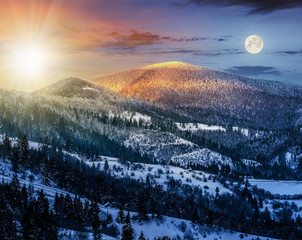 sunrise in winter carpathians 24 hour concept