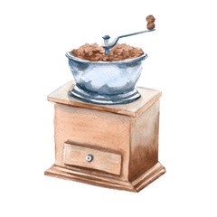 Coffee grinder. Isolated on a white background. Watercolor illus