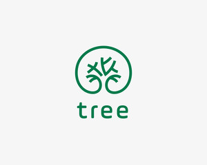 Abstract elegant tree park line logo icon design. Universal creative premium solid symbol. Graceful lined vector sign.