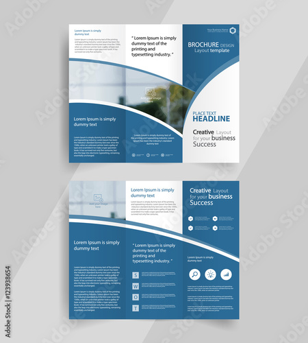 a4 brochure template - business tri fold brochure layout design vector a4