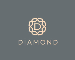 Premium letter D logo icon vector design. Luxury jewelry frame gem edge logotype. Print monogram initials stamp sign symbol.
