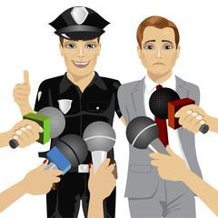 policeman arresting white collar corrupt businessman while journalist interviewing him