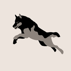 wolf jumping vector illustration style Flat