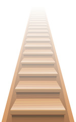 Endless staircase, natural wood look, seamless expandable upstairs and downstairs. Vector illustration.