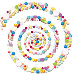 Spiral with many pills, tablets and capsules.