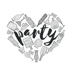 Bottles and glasses doodle heart illustration for bars, pubs and restaurants. Creative decoration for parties, flyers, brochures, t-shirts. Chalk board style