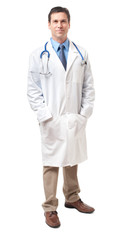 Doctor with Lab Coat and Stethoscope on White