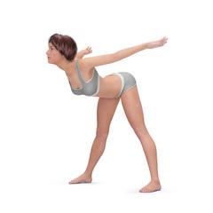 Dehnübungen und Stretching – junge Frau in Dehnen-Position