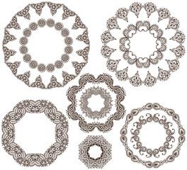 Vector set of henna floral frames