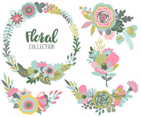 Vector graphic set with beautiful flowers, floral wreath, bouquets