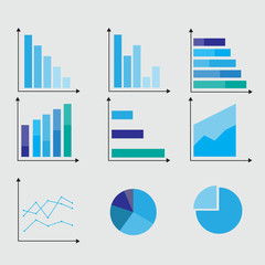 Business infographic data market elements dot bar pie charts diagrams and graphs flat icons set isolated vector illustration