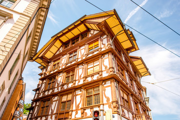 Close-up view on the ancient house in Lucerne old town in Switzerland
