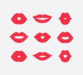 Abstract women lips icon set