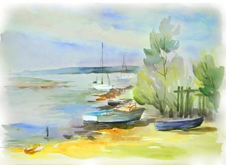 In the coast of Daugava river. Sketch of landscape in Latvia. Watercolor.