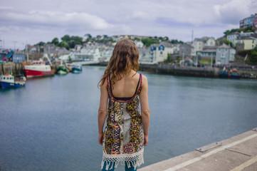 Woman relaxing in harbor
