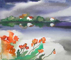 Before the storm. Sketch of landscape at the lake in Latvia. Watercolor.
