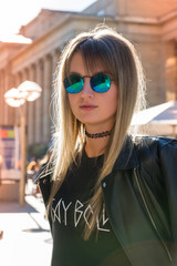 Pretty Girl Sunglasses Leather Jacket Warm Outdoor Fashion Stay