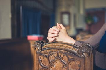 Close up on woman praying
