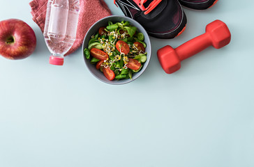 fitness theme, sport accessories on table