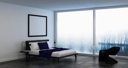 Misty bedroom windows interior scene