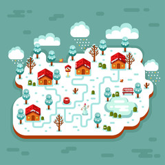 Vector flat style isometric 3d stock illustration of cartoon winter village, trees, well, footpath, pond, clouds, bench, snowman, snow, snowflakes, icicles, birds feeders. Night rural landscape.