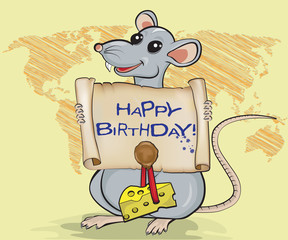 Cartoon rat holding scroll with ink lettering Happy birthday, stamp and piece of cheese. Background with sketch of world map.