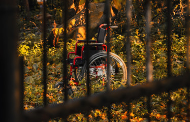 Empty wheelchair in untidy garden at sunset, shot through the bars