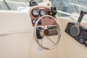 View of white yacht cockpit