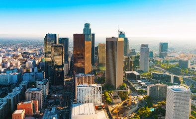 Aerial view of a Downtown LA at sunset Wall mural