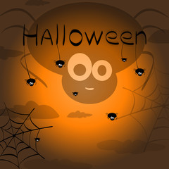 Happy Halloween. Vector of black spiders and bat and web. Hallow
