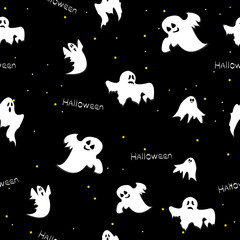 Seamless pattern of cute and funny Halloween ghosts. Vector of w