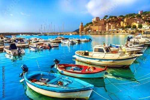 Wall mural Harbor and village  Rio Marina, Elba islands, Tuscany, Italy