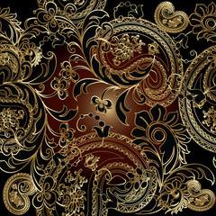 Paisleys luxury floral vector seamless pattern background wallpaper illustration with vintage stylish beautiful modern 3d gold and black paisley flowers leaves and ornaments on the dark  background.