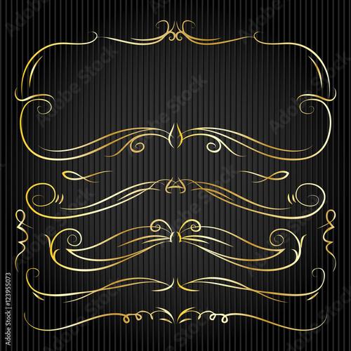 "Rustic Scroll Design: ""Set Of Hand Drawn Golden Doodle Line Borders. Rustic"