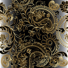 Paisleys floral royal elegant vector seamless pattern background wallpaper illustration with vintage stylish beautiful modern 3d gold and black paisley flowers leaves and ornaments