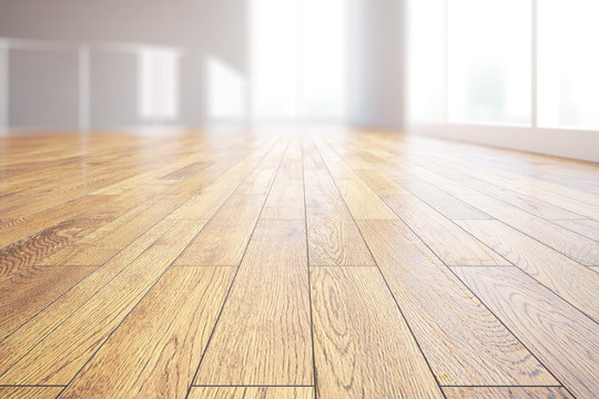Light wooden floor closeup