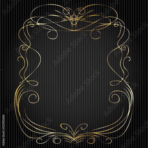 """Rustic Scroll Design: """"Set Of Hand Drawn Golden Doodle Line Borders And Frames"""