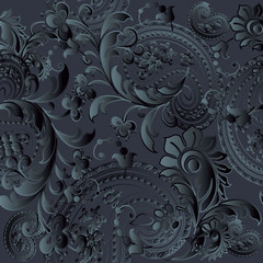 Paisleys floral black monochrome elegant vector seamless pattern background wallpaper illustration with vintage stylish beautiful modern 3d  black paisley flowers leaves and ornaments
