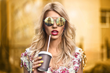 Cool hipster girl wearing eyewear glasses. Smiling happy.