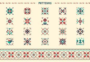 Traditional Cross Stitch Style Patterns Illustration