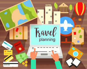 Travel Planning flat vector illustration. Prepairing for journey. Searching,booking. Objects and Icons.