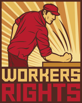 workers rights poster - fist hit of the table (design for labor day)
