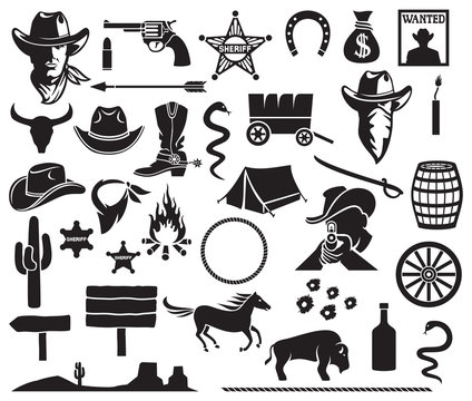 wild west icons set (cowboy head, horse, gun, arrow, cactus, sheriff star, hat, boot, horseshoe, bison, dynamite, bull skull, tent, wanted poster, money bag, barrel, campfire)