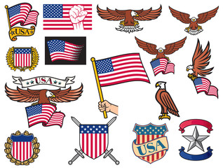 USA symbols (flying eagle holding flag, coat of arms design, shield and laurel wreath, heraldic icons)
