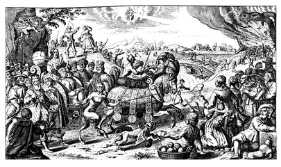 caricatural flyer of the Thirty Years War end, XVII century