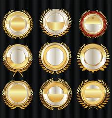 Empty luxury golden labels retro vintage collection