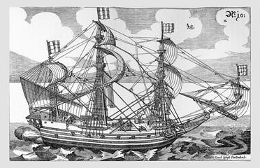 Naval war architecture in XVII century, vintage engraving