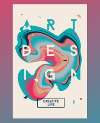Cyan abstract poster. Liquid ink. Modern style trends. Backgroun