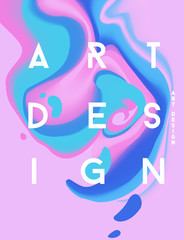 Pink abstract poster. Liquid ink. Modern style trends. Backgroun